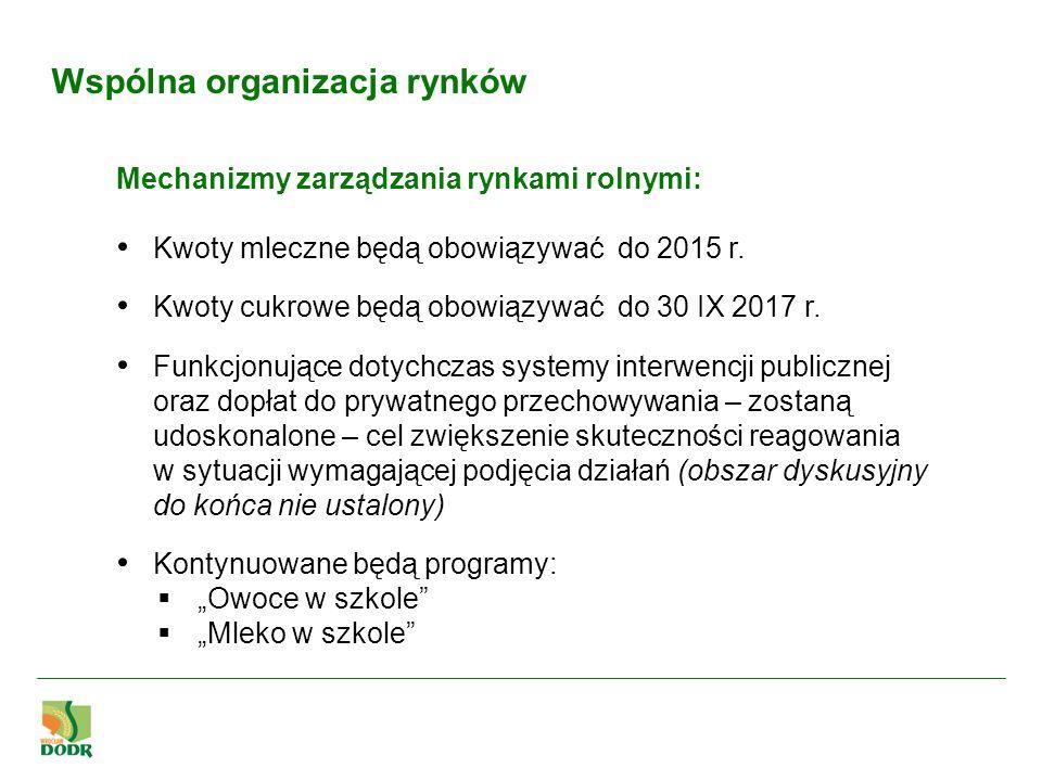 Wspólna organizacja rynków Mechanizmy zarządzania rynkami rolnymi: Kwoty mleczne będą obowiązywać do 2015 r. Kwoty cukrowe będą obowiązywać do 30 IX 2