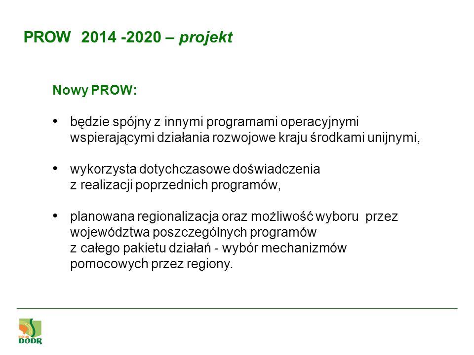 Nowy PROW: będzie spójny z innymi programami operacyjnymi wspierającymi działania rozwojowe kraju środkami unijnymi, wykorzysta dotychczasowe doświadc