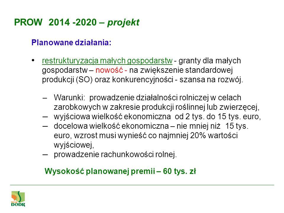 Planowane działania: restrukturyzacja małych gospodarstw - granty dla małych gospodarstw – nowość - na zwiększenie standardowej produkcji (SO) oraz ko