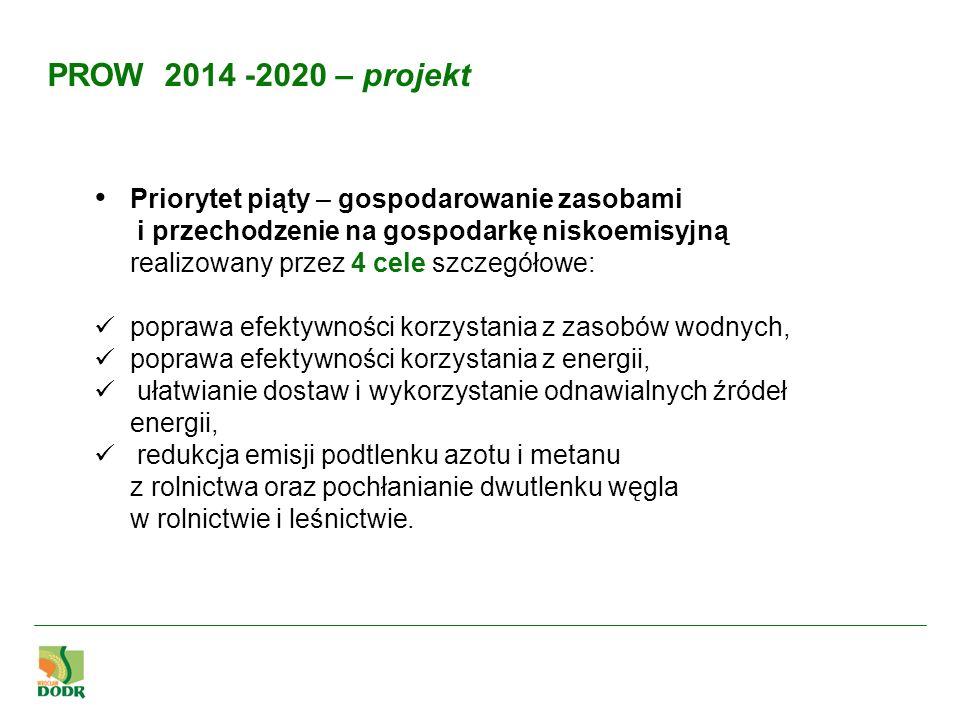 Priorytet piąty – gospodarowanie zasobami i przechodzenie na gospodarkę niskoemisyjną realizowany przez 4 cele szczegółowe: poprawa efektywności korzy