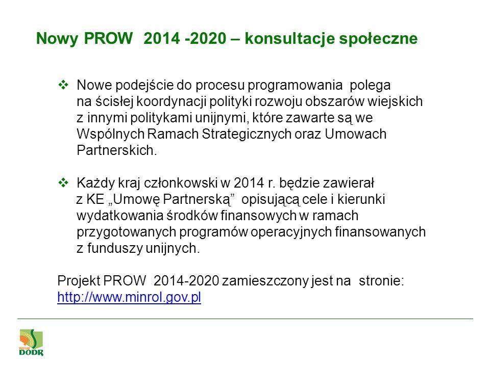 Nowy PROW 2014 -2020 – konsultacje społeczne Nowe podejście do procesu programowania polega na ścisłej koordynacji polityki rozwoju obszarów wiejskich