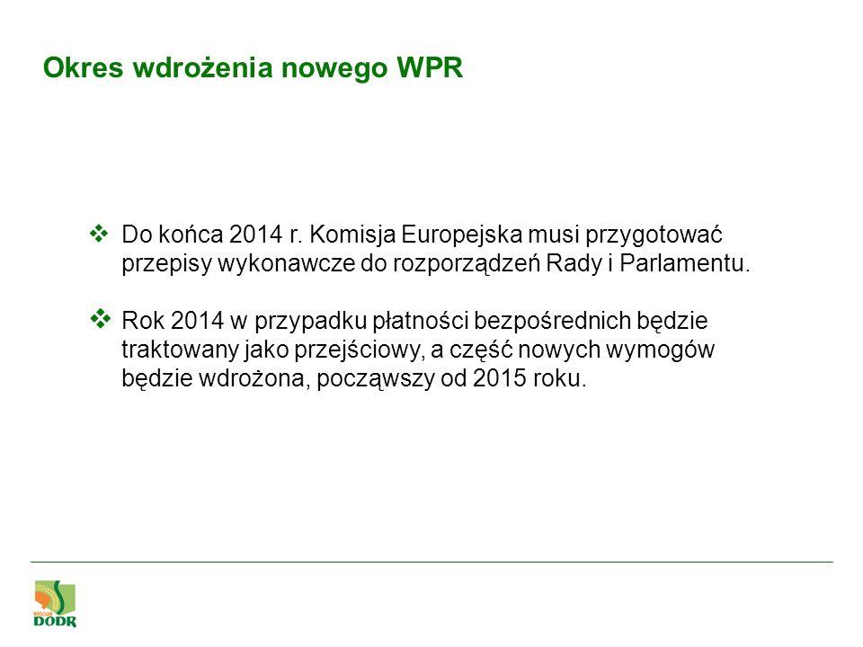 Okres wdrożenia nowego WPR Do końca 2014 r. Komisja Europejska musi przygotować przepisy wykonawcze do rozporządzeń Rady i Parlamentu. Rok 2014 w przy