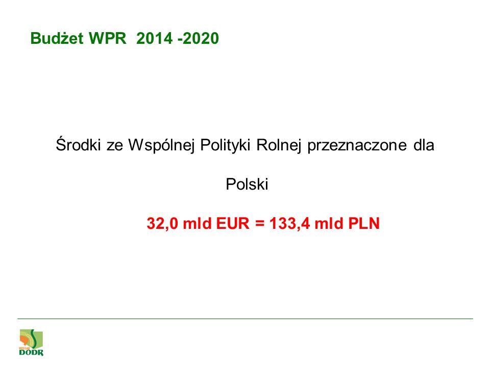 Budżet WPR 2014 -2020 Proponowane środki dla Polski z budżetu UE w mln EUR Rodzaj wsparcia 2014201520162017201820192020 łącznie 2014-2020 Płatności bezpośrednie297029873005302230423062 21148 Rozwój obszarów wiejskich157115701569156715651564156210968 Łącznie płatności i PROW454145574573458946074625462332116 Źródło: MRiRW Płatności Bezpośrednie - nr 7772/13 z dnia 10.