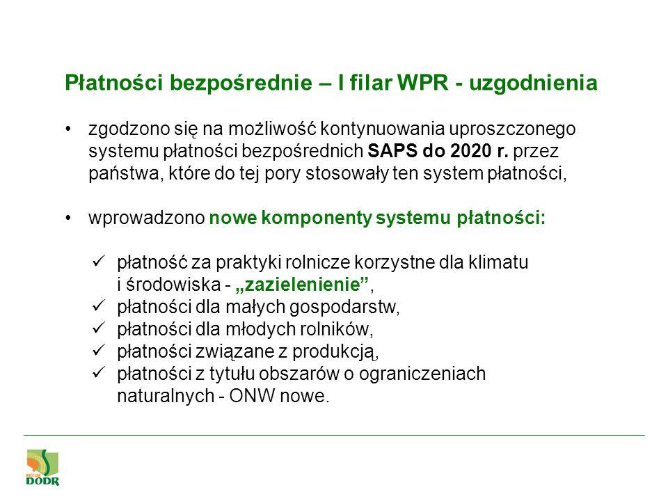 Zazielenianie WPR 2014-2020 Każdy kraj członkowski na płatności proekologiczne musi obowiązkowo przeznaczyć 30% środków z koperty krajowej.