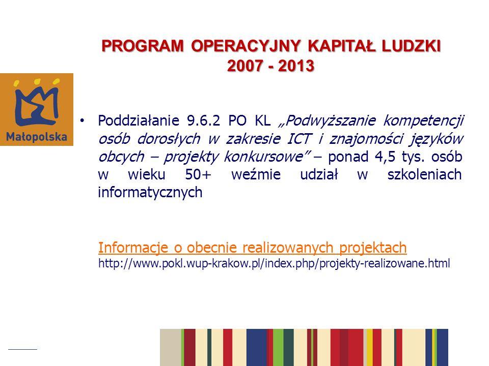 PROGRAM OPERACYJNY KAPITAŁ LUDZKI 2007 - 2013 Poddziałanie 9.6.2 PO KL Podwyższanie kompetencji osób dorosłych w zakresie ICT i znajomości języków obcych – projekty konkursowe – ponad 4,5 tys.