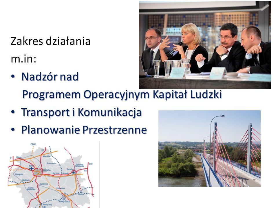 Zakres działania m.in: Nadzór nad Nadzór nad Programem Operacyjnym Kapitał Ludzki Programem Operacyjnym Kapitał Ludzki Transport i Komunikacja Transport i Komunikacja Planowanie Przestrzenne Planowanie Przestrzenne