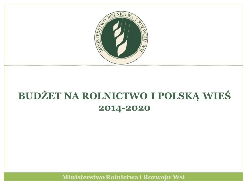 Ministerstwo Rolnictwa i Rozwoju Wsi BUDŻET NA ROLNICTWO I POLSKĄ WIEŚ 2014-2020