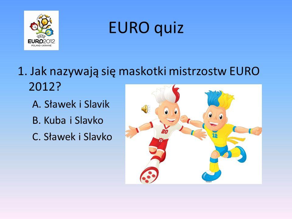 EURO quiz 1.Jak nazywają się maskotki mistrzostw EURO 2012.