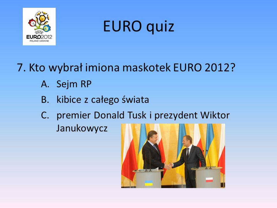 EURO quiz 7.Kto wybrał imiona maskotek EURO 2012.