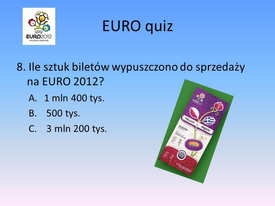 EURO quiz 8.Ile sztuk biletów wypuszczono do sprzedaży na EURO 2012.