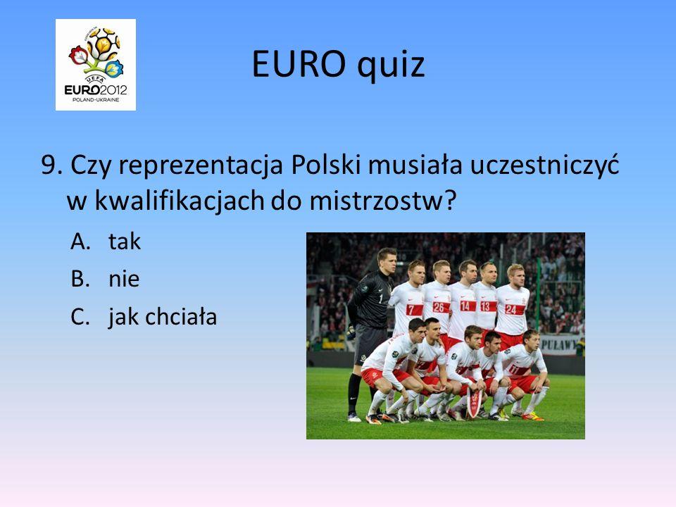 EURO quiz 9.Czy reprezentacja Polski musiała uczestniczyć w kwalifikacjach do mistrzostw.