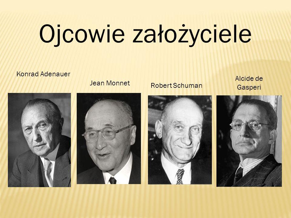 Ojcowie założyciele Konrad Adenauer Jean Monnet Robert Schuman Alcide de Gasperi