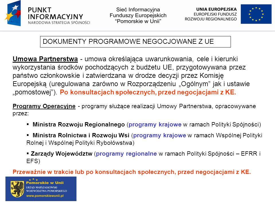 Umowa Partnerstwa - zakres analiza potrzeb rozwojowych i potencjałów cele i priorytety interwencji wraz z podstawowymi wskaźnikami kwestie związane z koncentracją tematyczną kwestie związane z wymiarem terytorialnym układ Programów służących realizacji Umowy Partnerstwa podział interwencji między poziom krajowy i regionalny zarys finansowania planowanych interwencji (podział alokacji) system wdrażania (system instytucjonalny) Program Operacyjny Inteligentny Rozwój Program Operacyjny Infrastruktura i Środowisko Program Operacyjny Wiedza Edukacja Rozwój Program Operacyjny Polska Cyfrowa Program Operacyjny Pomoc Techniczna Program Operacyjny Polska Wschodnia 16 Regionalnych Programów Operacyjnych, w tym RPO WP