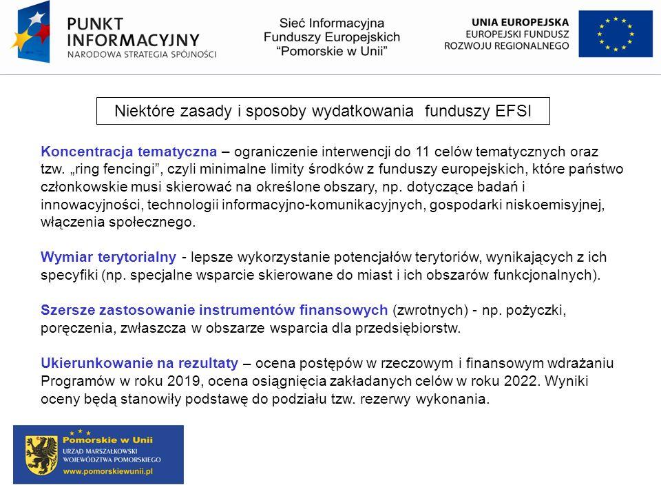 Niektóre zasady i sposoby wydatkowania funduszy EFSI Koncentracja tematyczna – ograniczenie interwencji do 11 celów tematycznych oraz tzw. ring fencin