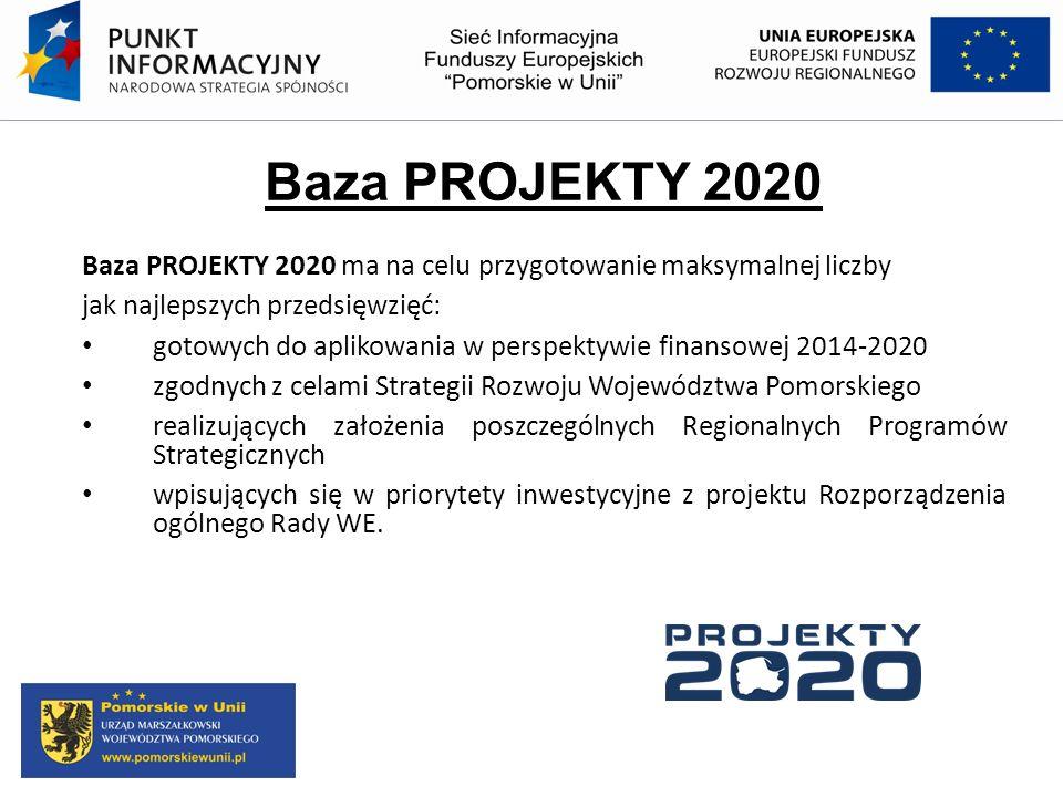 Baza PROJEKTY 2020 Baza PROJEKTY 2020 ma na celu przygotowanie maksymalnej liczby jak najlepszych przedsięwzięć: gotowych do aplikowania w perspektywi