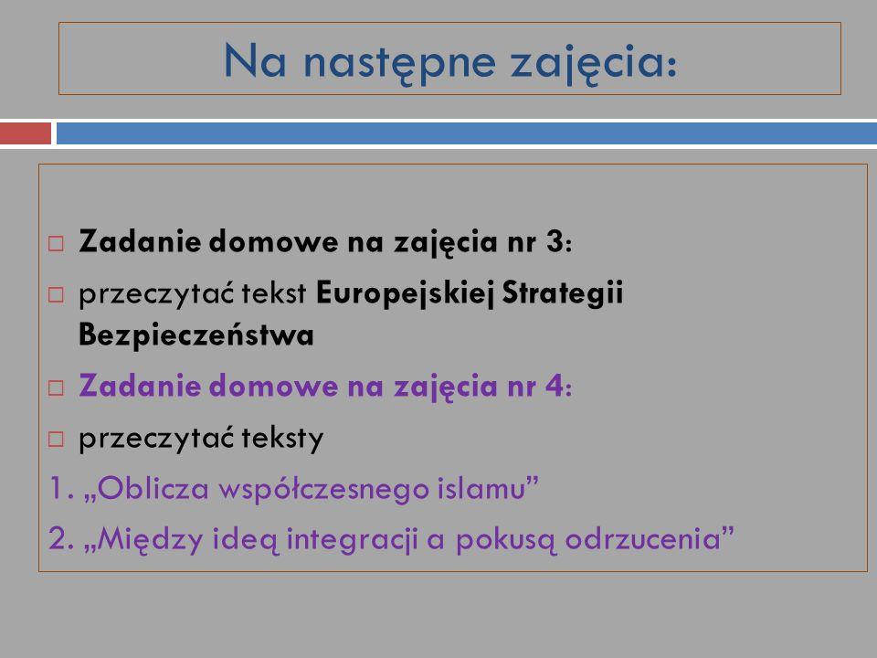 Na następne zajęcia: Zadanie domowe na zajęcia nr 3: przeczytać tekst Europejskiej Strategii Bezpieczeństwa Zadanie domowe na zajęcia nr 4: przeczytać