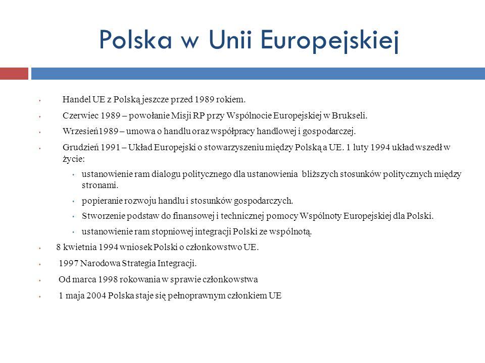 Polska w Unii Europejskiej Handel UE z Polską jeszcze przed 1989 rokiem. Czerwiec 1989 – powołanie Misji RP przy Wspólnocie Europejskiej w Brukseli. W