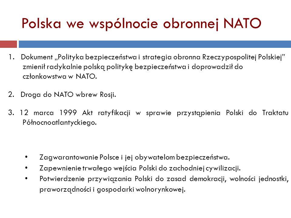 3. 12 marca 1999 Akt ratyfikacji w sprawie przystąpienia Polski do Traktatu Północnoatlantyckiego. 2. Droga do NATO wbrew Rosji. Zagwarantowanie Polsc