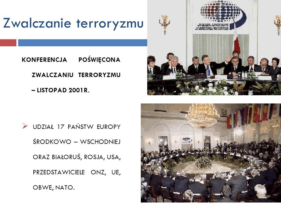 Zwalczanie terroryzmu KONFERENCJA POŚWIĘCONA ZWALCZANIU TERRORYZMU – LISTOPAD 2001R. UDZIAŁ 17 PAŃSTW EUROPY ŚRODKOWO – WSCHODNIEJ ORAZ BIAŁORUŚ, ROSJ