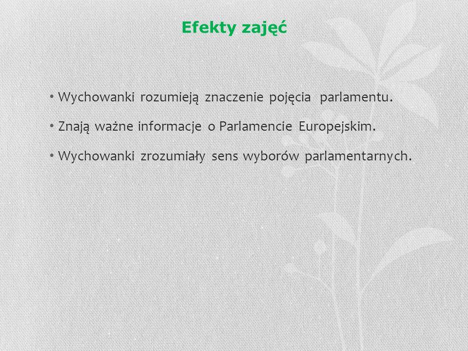 Efekty zajęć Wychowanki rozumieją znaczenie pojęcia parlamentu. Znają ważne informacje o Parlamencie Europejskim. Wychowanki zrozumiały sens wyborów p