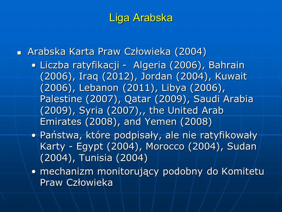Liga Arabska Arabska Karta Praw Człowieka (2004) Arabska Karta Praw Człowieka (2004) Liczba ratyfikacji - Algeria (2006), Bahrain (2006), Iraq (2012),