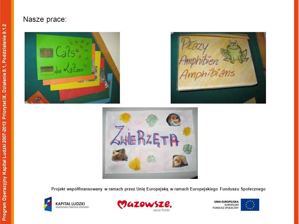 Program Operacyjny Kapitał Ludzki 2007-2013 Priorytet IX, Działanie 9.1, Poddziałanie 9.1.2 Projekt współfinansowany w ramach przez Unię Europejską w ramach Europejskiego Funduszu Społecznego Nasze prace: