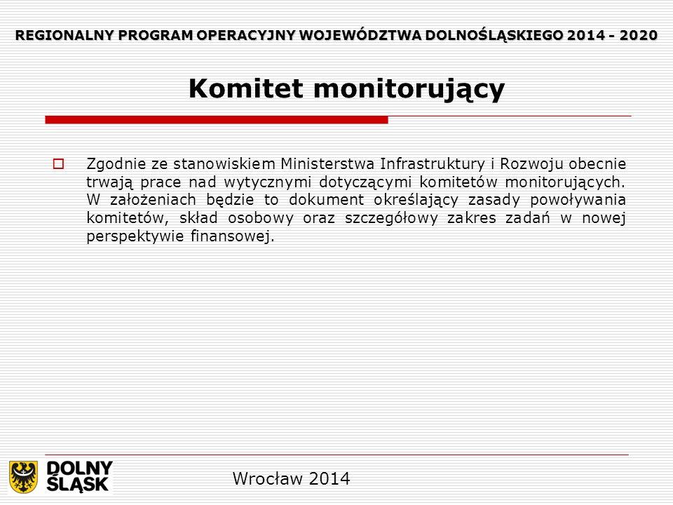 REGIONALNY PROGRAM OPERACYJNY WOJEWÓDZTWA DOLNOŚLĄSKIEGO 2014 - 2020 Zgodnie ze stanowiskiem Ministerstwa Infrastruktury i Rozwoju obecnie trwają prac