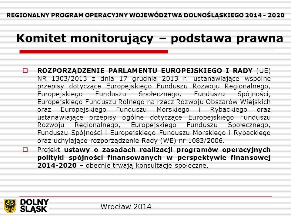 REGIONALNY PROGRAM OPERACYJNY WOJEWÓDZTWA DOLNOŚLĄSKIEGO 2014 - 2020 W terminie trzech miesięcy od daty powiadomienia państwa członkowskiego o decyzji Komisji dotyczącej przyjęcia programu państwo członkowskie ustanawia komitet, zgodnie ze swoimi instytucjonalnymi, prawnymi i finansowymi ramami, w celu monitorowania wdrażania programu, w porozumieniu z instytucją zarządzającą (komitet monitorujący).