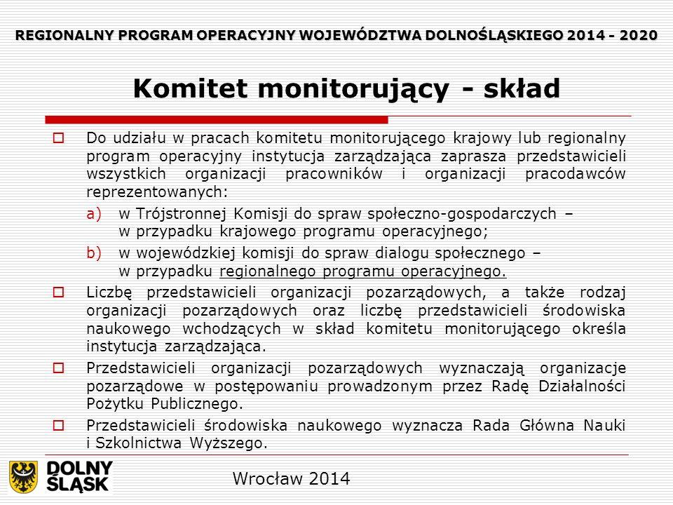 REGIONALNY PROGRAM OPERACYJNY WOJEWÓDZTWA DOLNOŚLĄSKIEGO 2014 - 2020 Przedstawiciele partnerów są delegowani na członków komitetu monitorującego przez właściwych partnerów w sposób przejrzysty.