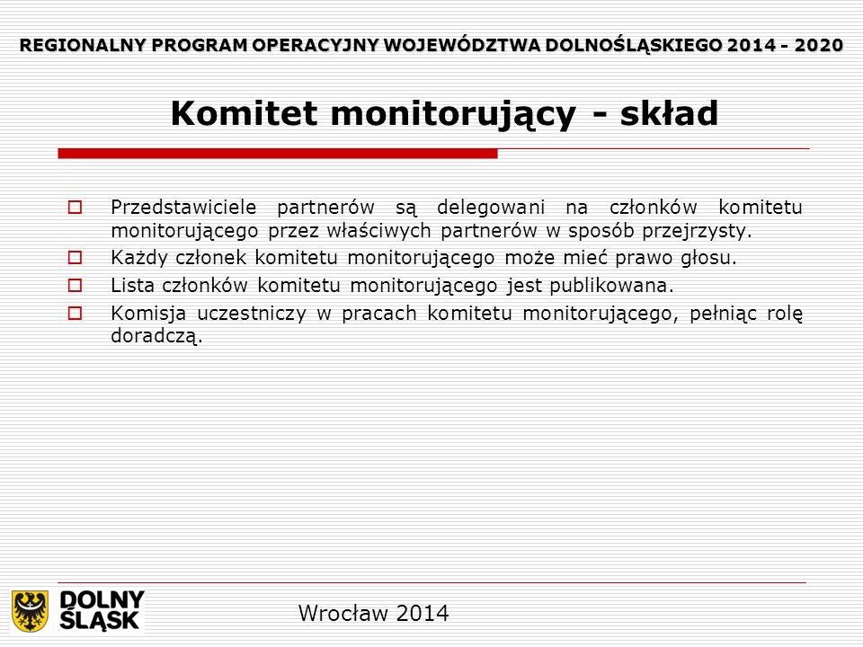 REGIONALNY PROGRAM OPERACYJNY WOJEWÓDZTWA DOLNOŚLĄSKIEGO 2014 - 2020 Przedstawiciele partnerów są delegowani na członków komitetu monitorującego przez