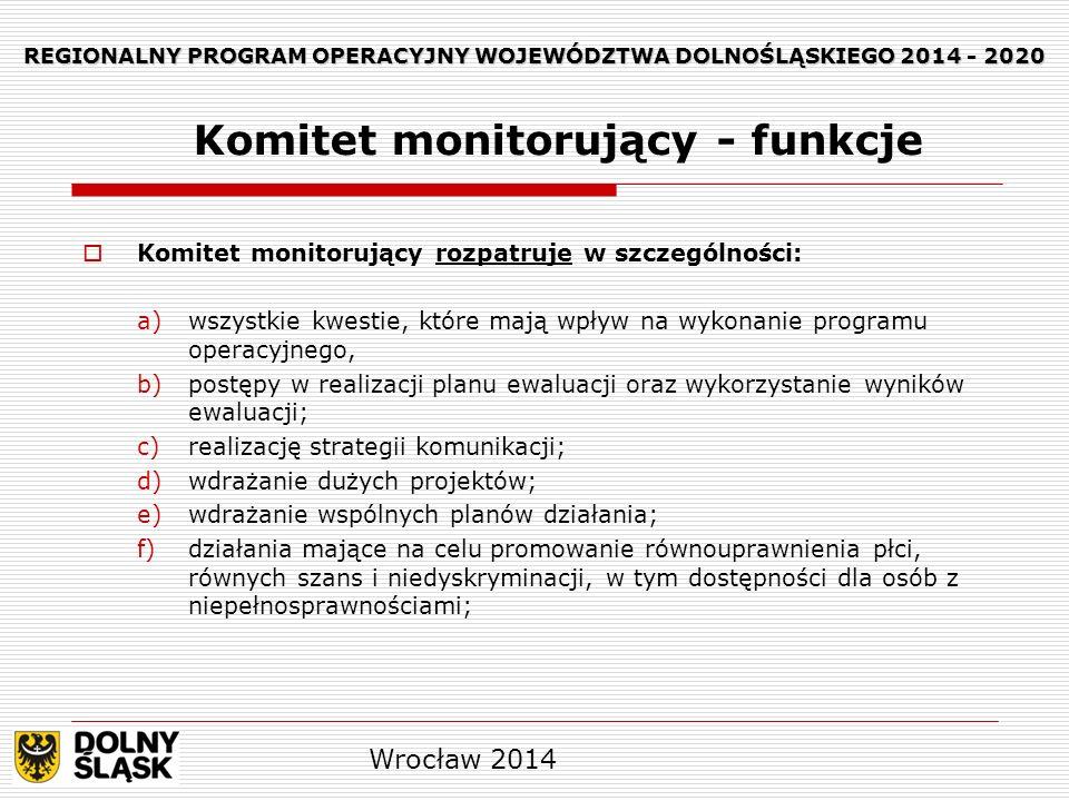 REGIONALNY PROGRAM OPERACYJNY WOJEWÓDZTWA DOLNOŚLĄSKIEGO 2014 - 2020 Komitet monitorujący rozpatruje w szczególności: a)wszystkie kwestie, które mają