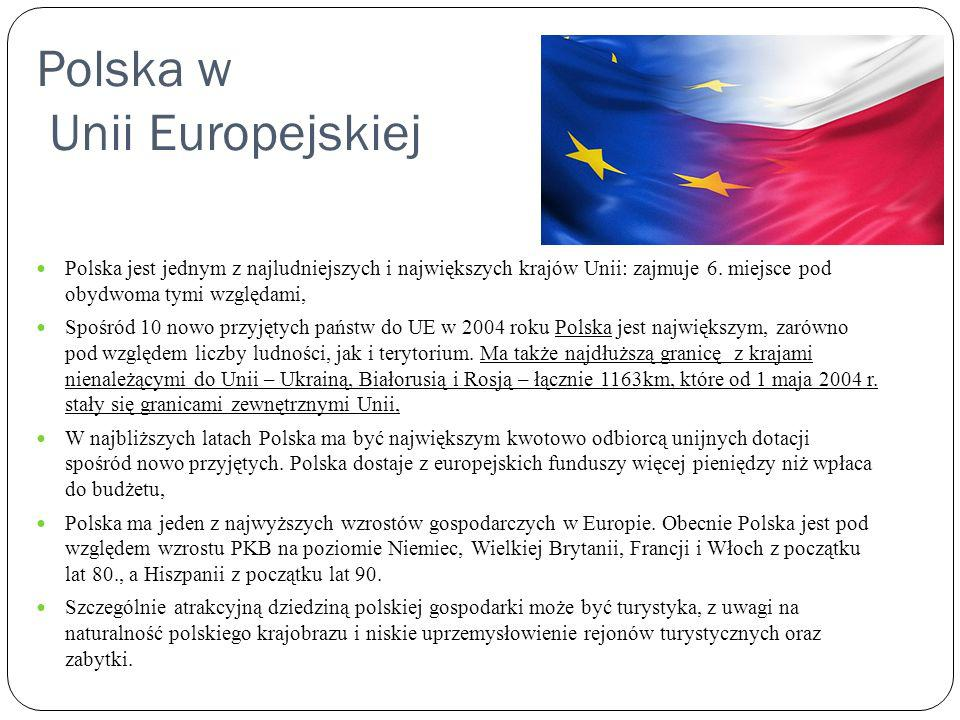 Polska w Unii Europejskiej Polska jest jednym z najludniejszych i największych krajów Unii: zajmuje 6. miejsce pod obydwoma tymi względami, Spośród 10
