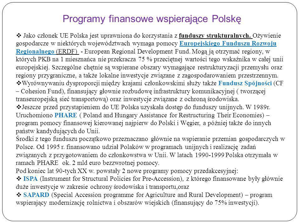 Jako członek UE Polska jest uprawniona do korzystania z funduszy strukturalnych. Ożywienie gospodarcze w niektórych województwach wymaga pomocy Europe