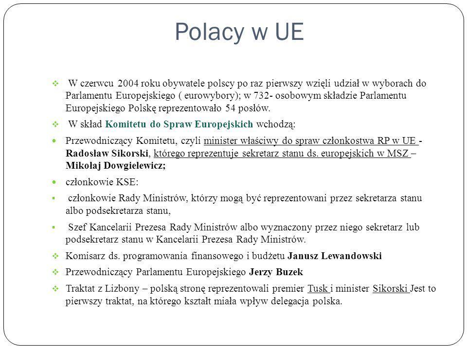 Polacy w UE W czerwcu 2004 roku obywatele polscy po raz pierwszy wzięli udział w wyborach do Parlamentu Europejskiego ( eurowybory); w 732- osobowym s