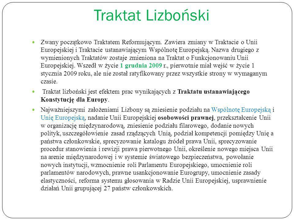Traktat Lizboński Zwany początkowo Traktatem Reformującym. Zawiera zmiany w Traktacie o Unii Europejskiej i Traktacie ustanawiającym Wspólnotę Europej