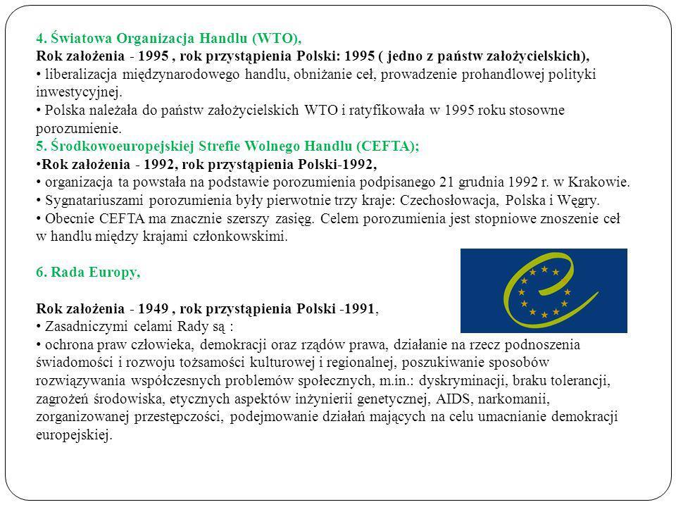 4. Światowa Organizacja Handlu (WTO), Rok założenia - 1995, rok przystąpienia Polski: 1995 ( jedno z państw założycielskich), liberalizacja międzynaro