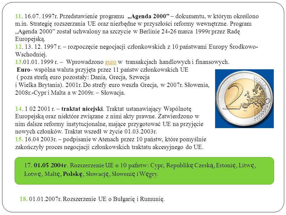 11. 16.07. 1997r. Przedstawienie programu Agenda 2000 – dokumentu, w którym określono m.in. Strategię rozszerzania UE oraz niezbędne w przyszłości ref