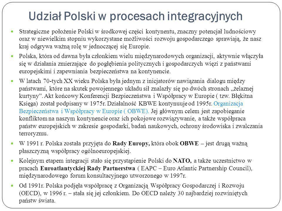 Udział Polski w procesach integracyjnych Strategiczne położenie Polski w środkowej części kontynentu, znaczny potencjał ludnościowy oraz w niewielkim