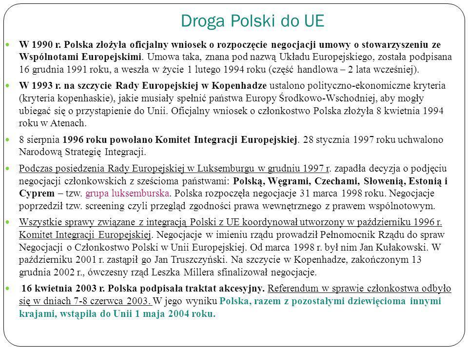 Droga Polski do UE W 1990 r. Polska złożyła oficjalny wniosek o rozpoczęcie negocjacji umowy o stowarzyszeniu ze Wspólnotami Europejskimi. Umowa taka,