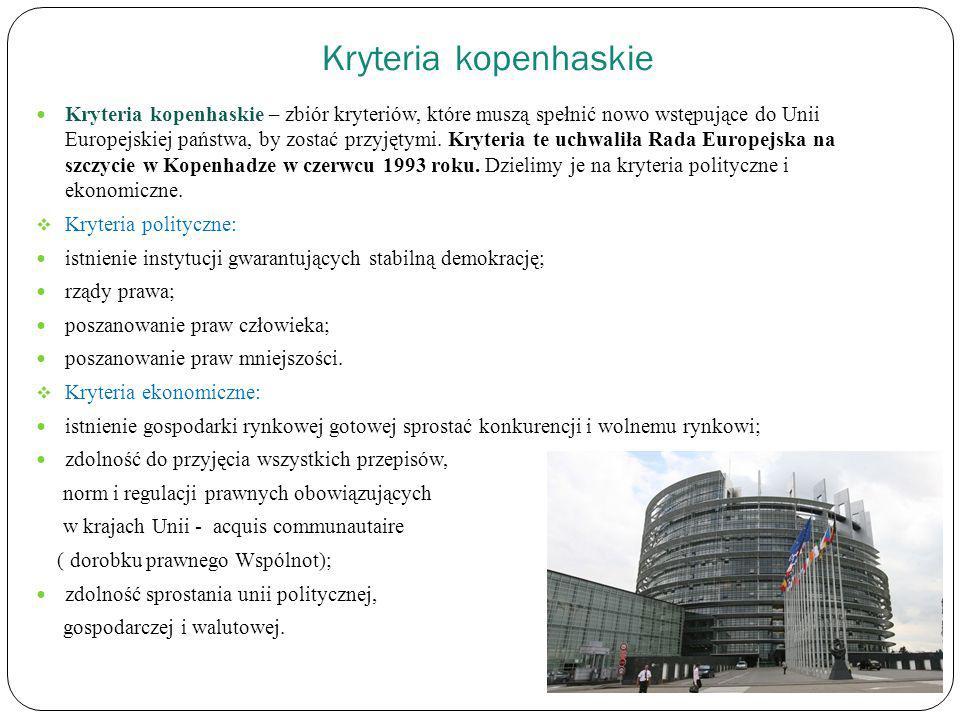 Kryteria kopenhaskie Kryteria kopenhaskie – zbiór kryteriów, które muszą spełnić nowo wstępujące do Unii Europejskiej państwa, by zostać przyjętymi. K