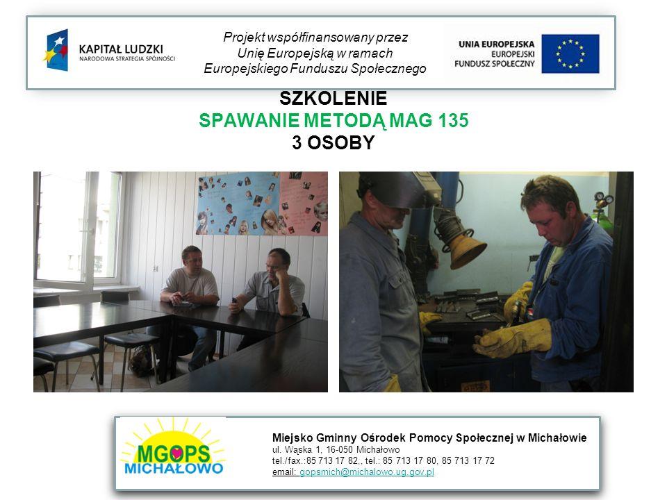 SZKOLENIE SPAWANIE METODĄ MAG 135 3 OSOBY Projekt współfinansowany przez Unię Europejską w ramach Europejskiego Funduszu Społecznego Miejsko Gminny Oś