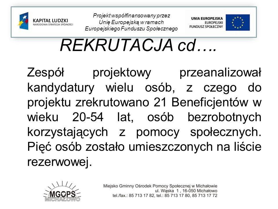 REKRUTACJA cd…. Zespół projektowy przeanalizował kandydatury wielu osób, z czego do projektu zrekrutowano 21 Beneficjentów w wieku 20-54 lat, osób bez