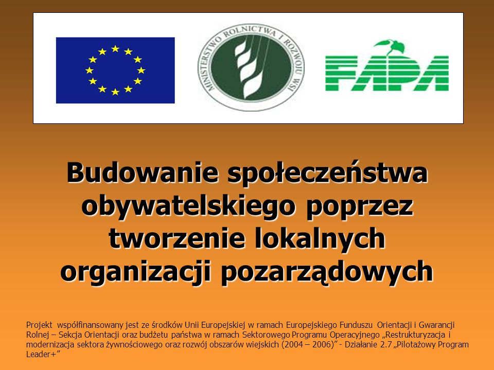 Budowanie społeczeństwa obywatelskiego poprzez tworzenie lokalnych organizacji pozarządowych Projekt współfinansowany jest ze środków Unii Europejskie