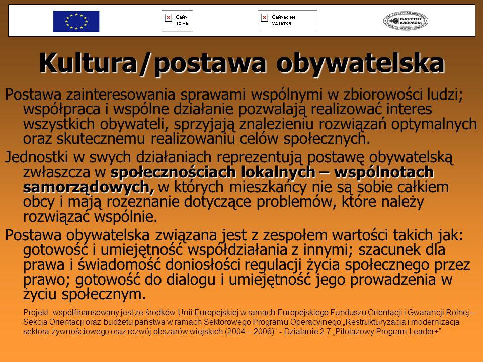 Kultura/postawa obywatelska Postawa zainteresowania sprawami wspólnymi w zbiorowości ludzi; współpraca i wspólne działanie pozwalają realizować intere