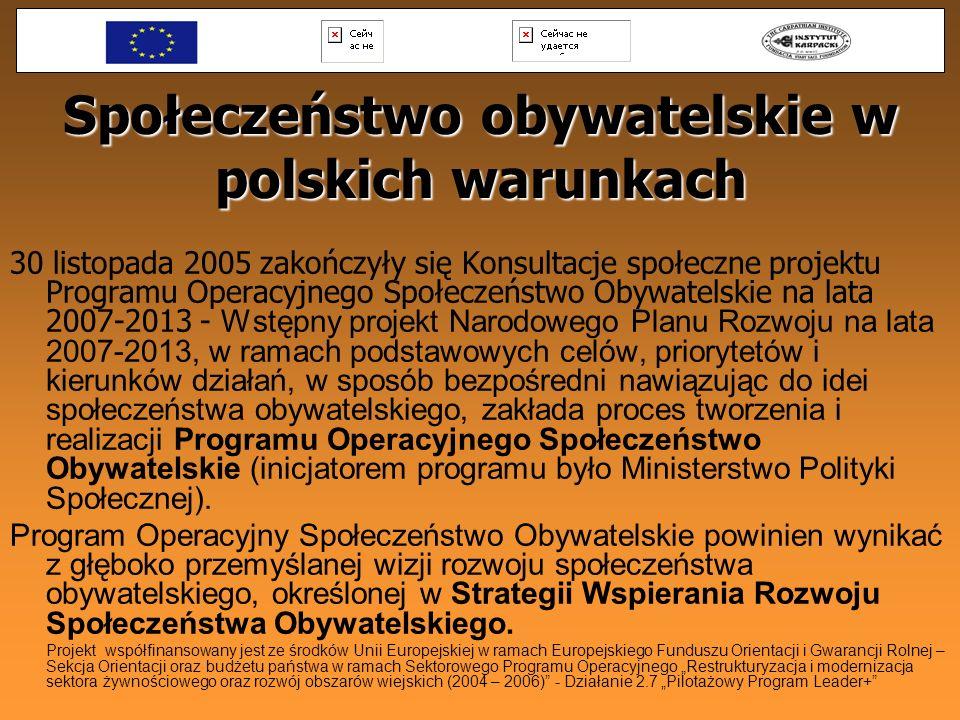 Społeczeństwo obywatelskie w polskich warunkach 30 listopada 2005 zakończyły się Konsultacje społeczne projektu Programu Operacyjnego Społeczeństwo Ob