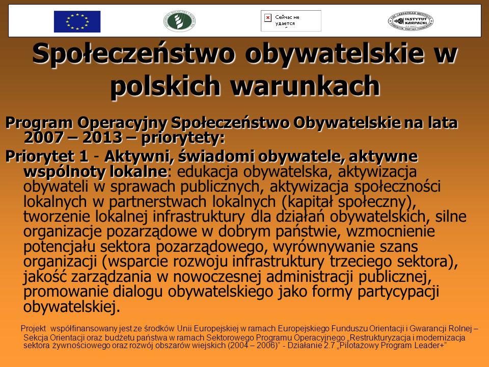 Społeczeństwo obywatelskie w polskich warunkach Program Operacyjny Społeczeństwo Obywatelskie na lata 2007 – 2013 – priorytety: Priorytet 1Aktywni, św