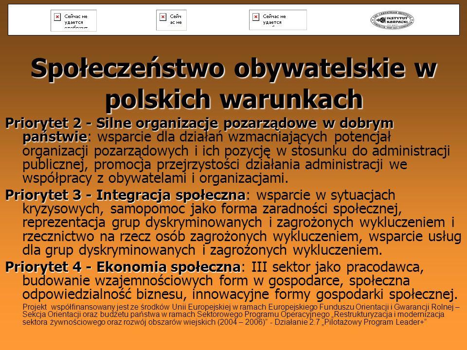 Społeczeństwo obywatelskie w polskich warunkach Priorytet 2 - Silne organizacje pozarządowe w dobrym państwie Priorytet 2 - Silne organizacje pozarząd
