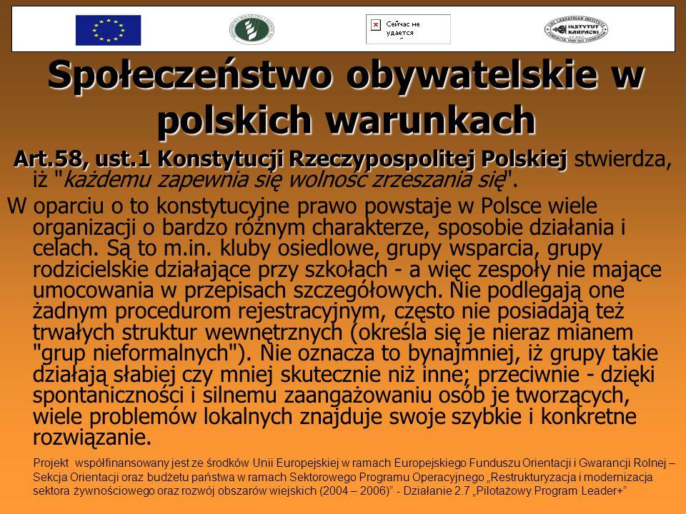 Społeczeństwo obywatelskie w polskich warunkach Art.58, ust.1 Konstytucji Rzeczypospolitej Polskiej Art.58, ust.1 Konstytucji Rzeczypospolitej Polskie