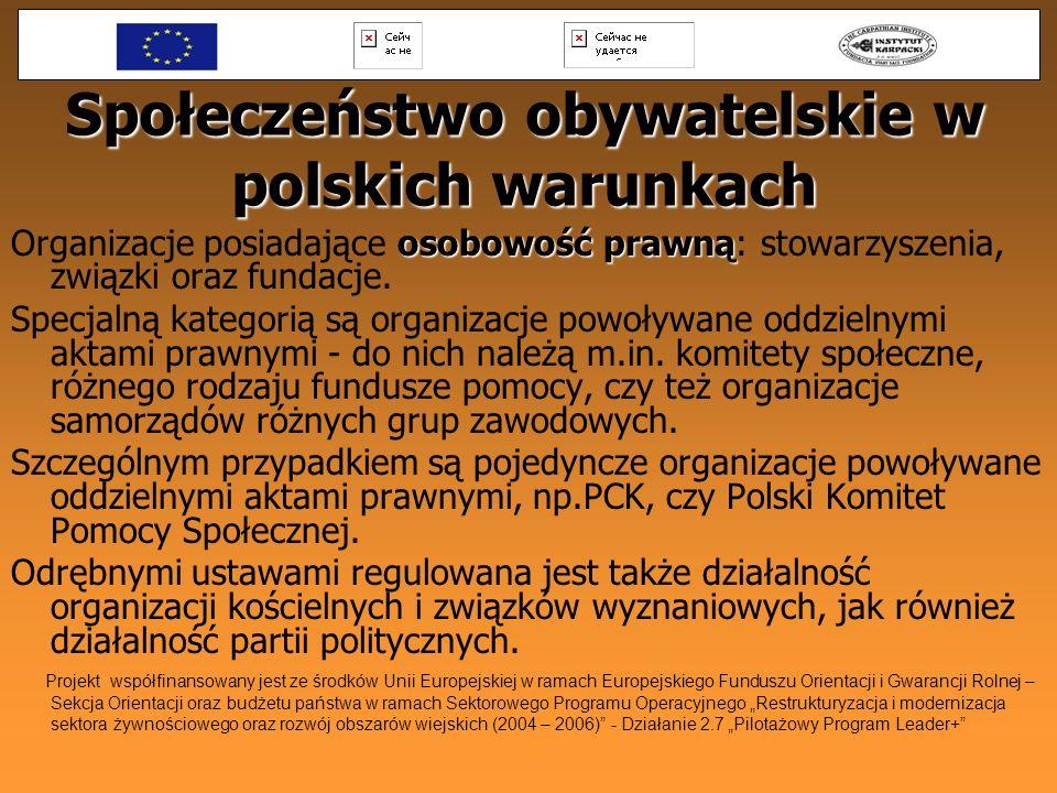 Społeczeństwo obywatelskie w polskich warunkach osobowość prawną Organizacje posiadające osobowość prawną: stowarzyszenia, związki oraz fundacje. Spec