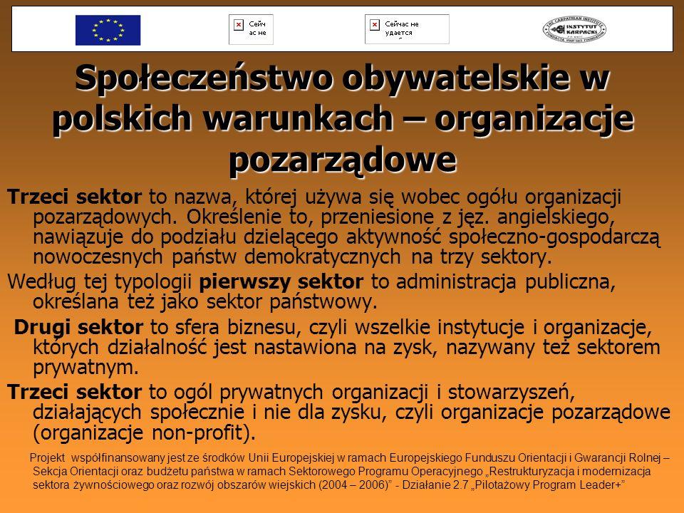 Społeczeństwo obywatelskie w polskich warunkach – organizacje pozarządowe Trzeci sektor to nazwa, której używa się wobec ogółu organizacji pozarządowy